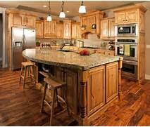 What Countertop Would Look Good With Hickory Cabinets Google Search Black Glossy Oak Wood Island With Gray Bevel Edge Profile Top Brown Oak Kitchen Cabinets With Granite Countertops