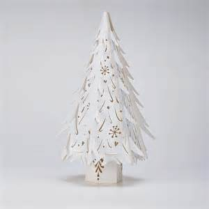 small paper tree decorations in white