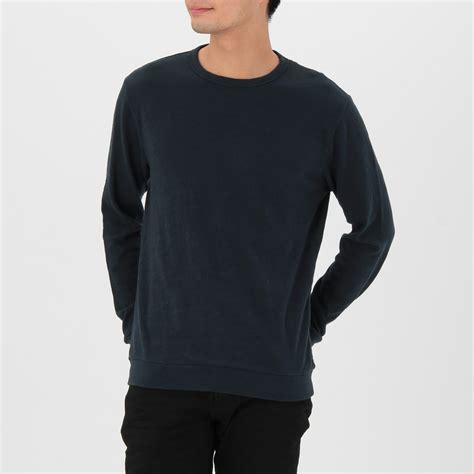 L Uneven by Ogc Uneven Yarn Crew Neck L S T Shirt L Navy Muji