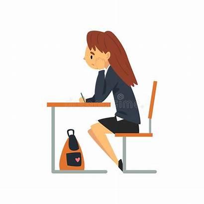 Student Bored Sitting Clipart Scolara Scrittorio Scuola