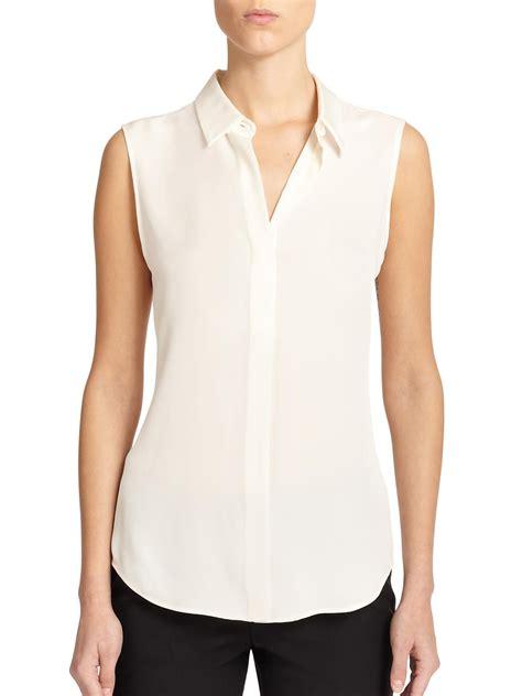 theory tanelis modern silk sleeveless blouse  white lyst