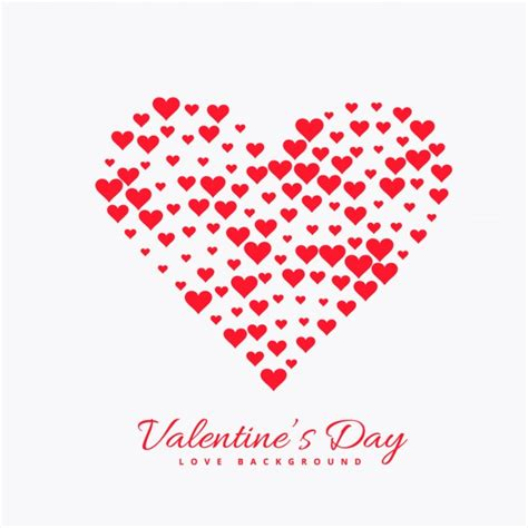 Valentines day card with heart made with hearts | Free Vector