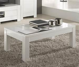 Table Salon Blanc Laqué : meuble table basse design rectangulaire blanc laqu frizz ~ Teatrodelosmanantiales.com Idées de Décoration