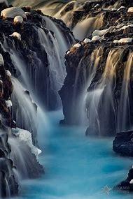 Blues Bruarfoss Waterfall Iceland