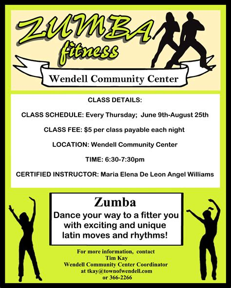 zumba flyer class community wendell center
