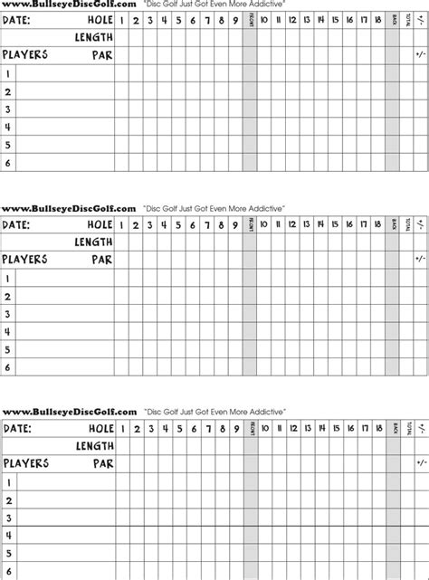 golf scorecard templates