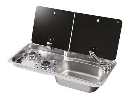 piani cottura combinati induzione e gas piano cottura 2 fuochi con lavello e coperchio in vetro