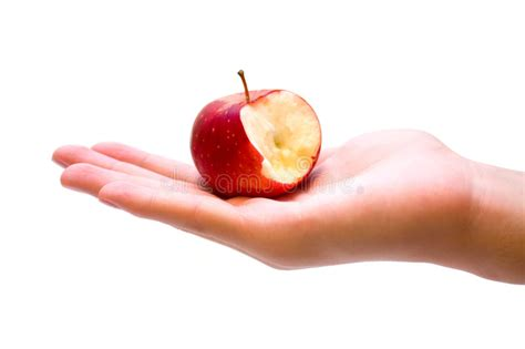 Red Apple With A Bite Missing On Hand Stock Image - Image ...