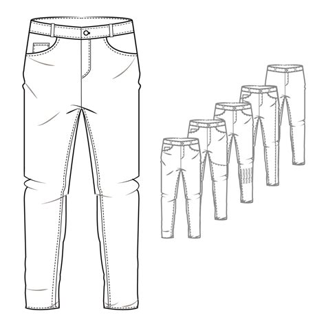 mens denim jeans style trouser technical drawing