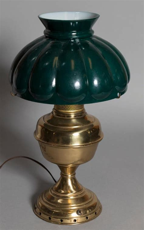 desk l glass shade semi antique brass desk l with green glass shade