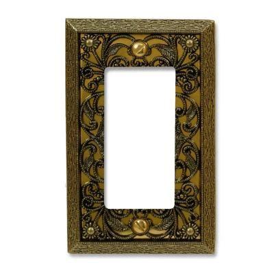 amerelle filigree 1 decora wall plate antique amerelle filigree 1 decora wall plate antique brass