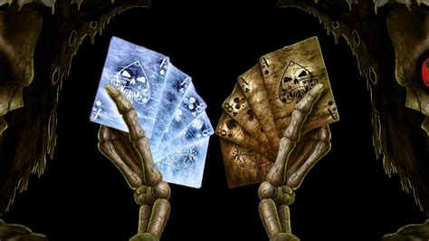 cards skulls poker bones wallpaper