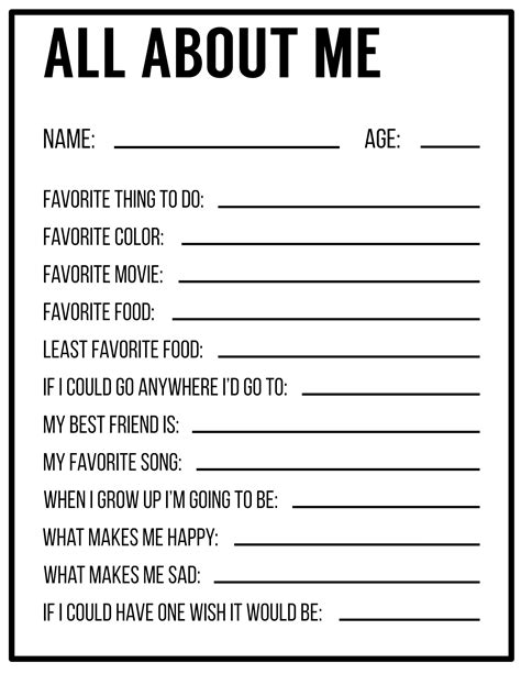 About Me Template All About Me Printables Template Paper Trail