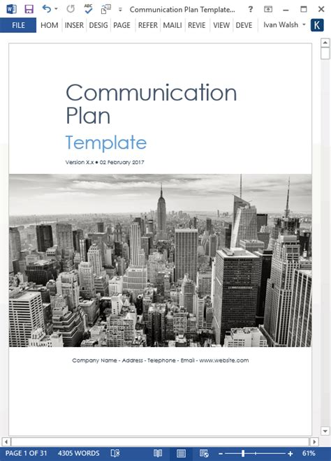 communication plan templates  ms word  excel