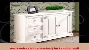 Sideboard Landhausstil Weiß : kommode sideboard wei white washed kiefer massiv im landhausstil youtube ~ Markanthonyermac.com Haus und Dekorationen