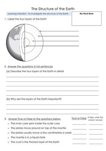structure of the earth layers 3 differentiated worksheets by snowglobe eml1409 teaching
