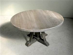 driftwood oak coffee table with pedestal base farmhouse With round coffee table pedestal base