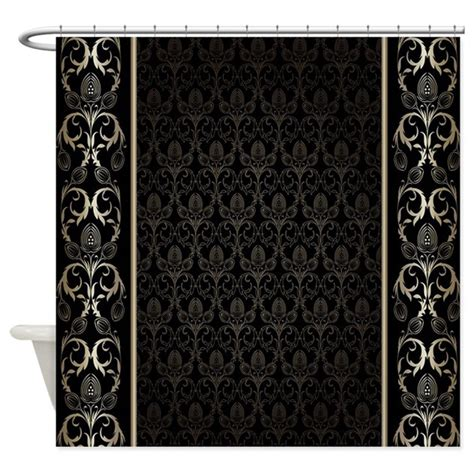 black and gold shower curtain black and gold damask shower curtain by decorativedesigns