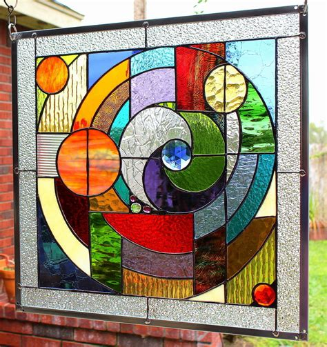 stained glass ideas stained glass window panel quot round and round quot abstract window panels window and rounding