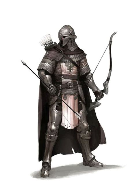 fighter fantasy dnd pathfinder archer guard 5e bow armor master rpg male weapon knight hunter pfrpg medieval character heavy fighting