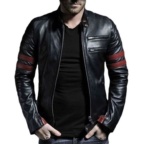 real leather motorcycle jackets men 39 s red stripe leather jacket genuine leather ebay