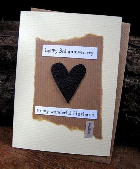 3rd wedding anniversary gift 3rd wedding anniversary card leather husband traditional symbol handmade keepsake husband third