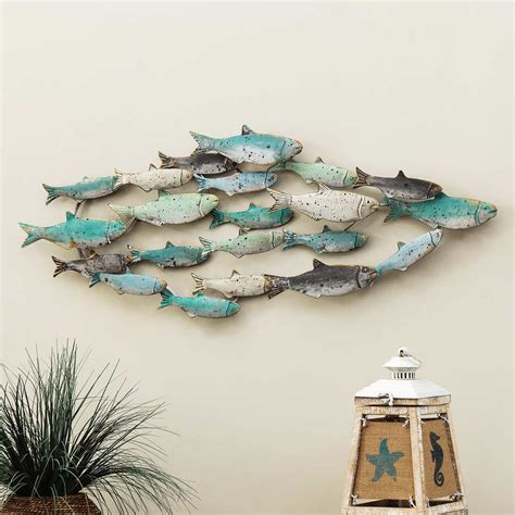 8 pieces turquoise decorative reproduction blown glass float fishing buoy ball. Distressed School of Fish Wall Art