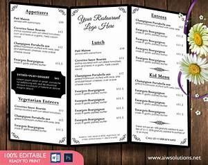 Microsoft Word Trifold Design Templates Menu Templates Wedding Menu Food