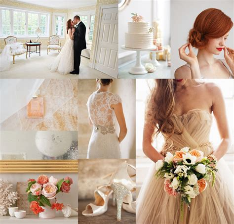 blush cream coral wedding inspiration board