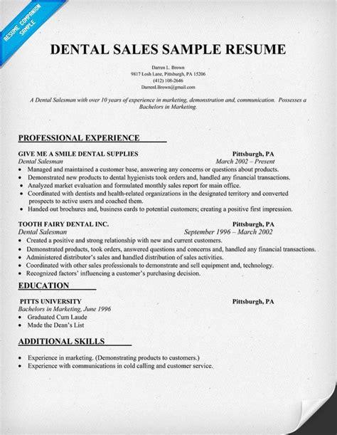 Free Sle Of Resume by Dental Sales Resume Sle Dentist Health Resume