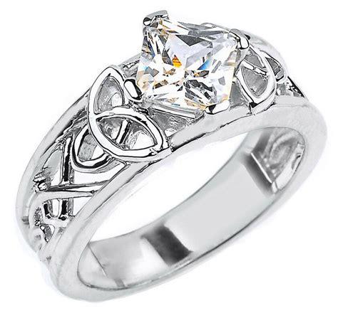 10k white gold celtic knot princess cut cz engagement ring ebay