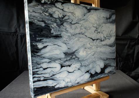 acrylmalerei demo fluid acrylic painting black white
