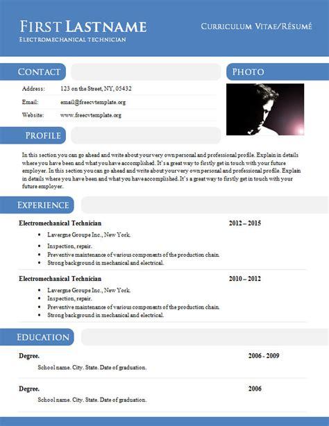 curriculum vitae résumé template in doc format 897 903 freecvtemplate org
