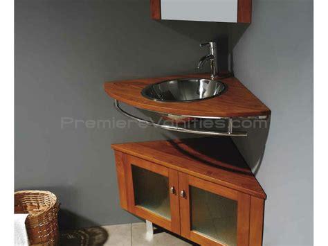 corner bathroom vanity  maple finish single sink