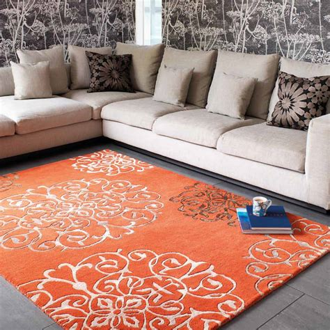 emejing tapis salon orange contemporary awesome interior