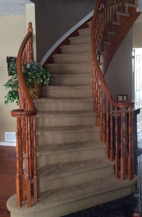 replace stained carpet  curved staircase hometalk