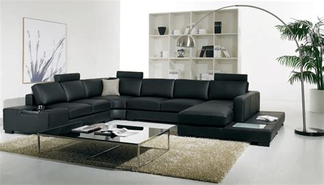 large  shaped modern leather sectional sofa  lights