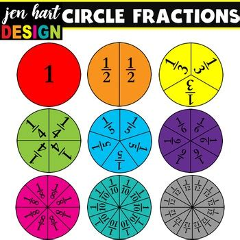 fractions clipart set circles  jen hart design tpt