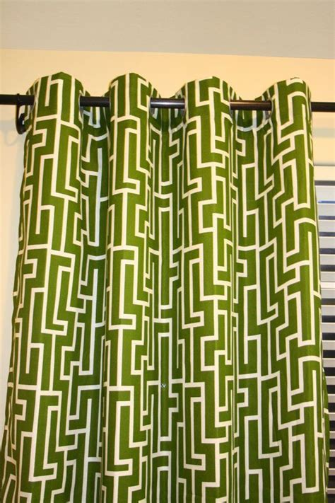 modern geometric olive green grommet curtain 57 quot x84 quot one