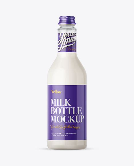 Simple edit with smart layers. Free Mockups 500ml Clear Glass Bottle w/ Milk Mockup ...