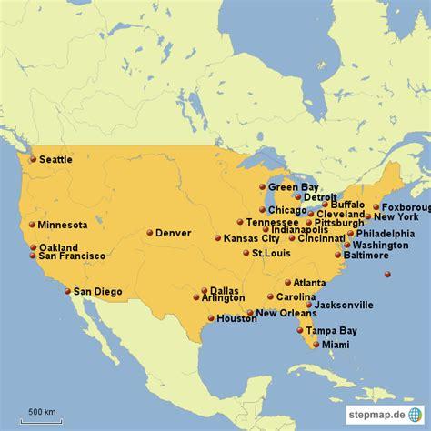 stepmap nfl teams landkarte fuer usa