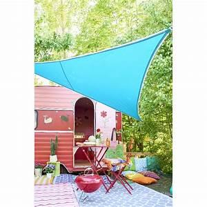 Toile Tendue Jardin : voile d 39 ombrage led solaire bleu lagon voile d 39 ombrage ~ Melissatoandfro.com Idées de Décoration