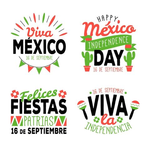 Mexico independence day badges | Free Vector