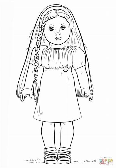Coloring Doll American Pages Dolls Printables Birthday