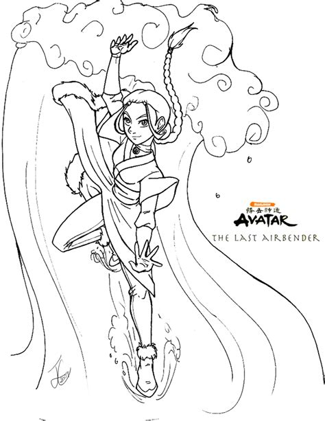 Avatar Kleurplaat by Atla Katara Coloring Page By Delusionalhell On