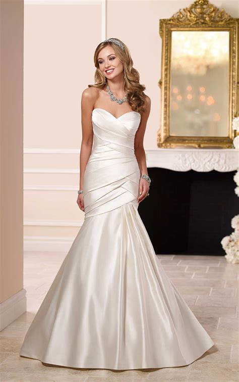 elegant satin fit flare wedding dress stella york