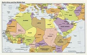 Large political map of North Africa and the Middle East ...