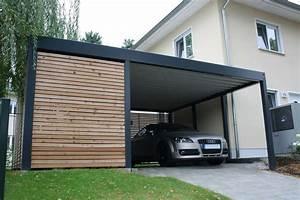 Design metall carport aus holz stahl mit ger teraum for Design carport holz
