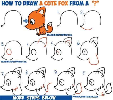 draw  cute cartoon fox   question mark