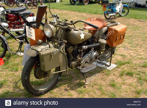 Ww2 Us Army Motorcycle On Display At A Vehicle Show Stock
